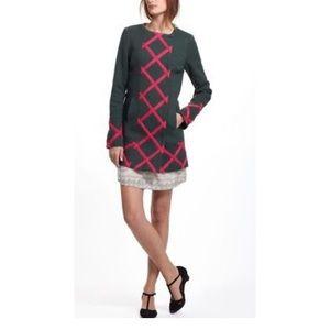 Anthropologie Size 2 Coat - Green & Pink Lattice